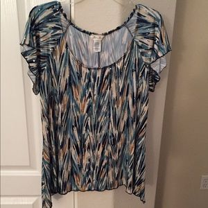NWOT-Sequined turquoise print top